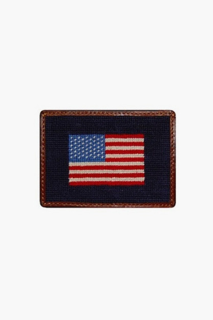 american flag needlepoint credit card wallet