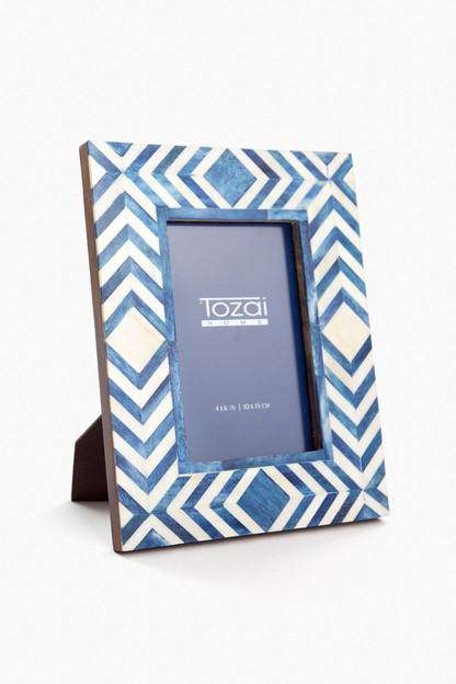 blue moroccan mosaic photo frame