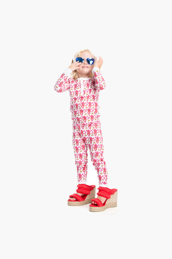 pink kid's monkey pajama set