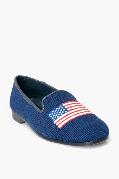 american flag on navy needlepoint loafers
