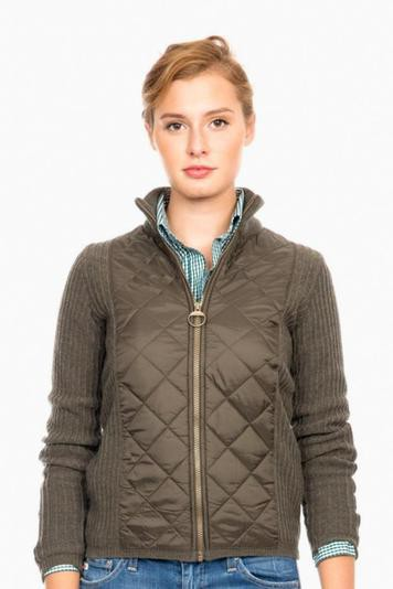 barbour olive knit sporting zip