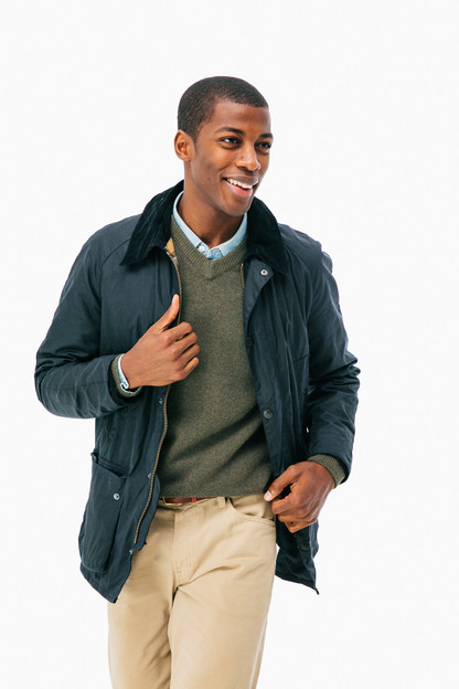 navy ashby wax jacket