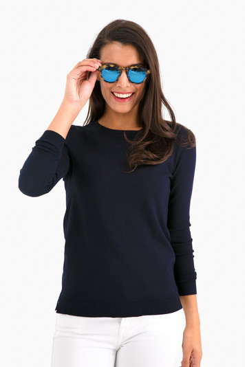 classic navy carolina crewneck sweater