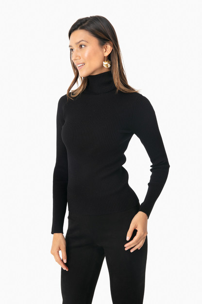 Black Sonia Ribbed Turtleneck