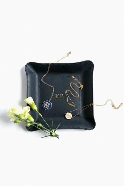 navy medium leather catch-all