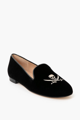 black velvet skull loafers