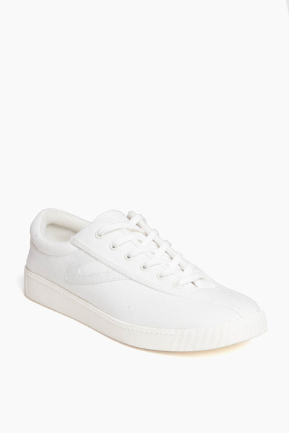 white nylite casual canvas sneakers