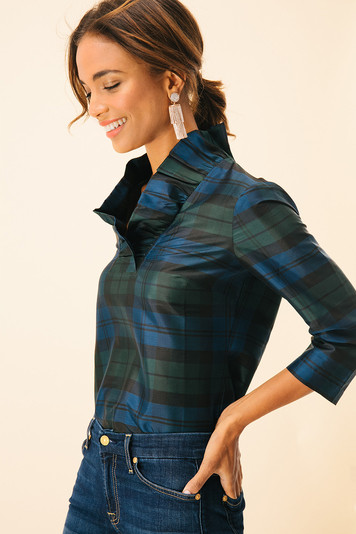 blackwatch plaid classic silk ruffle tunic