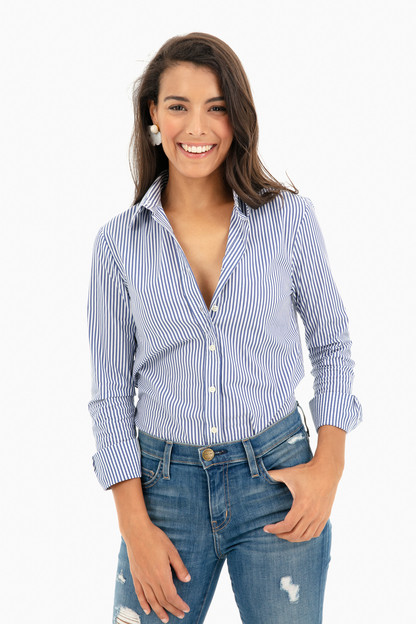 blue striped icon shirt