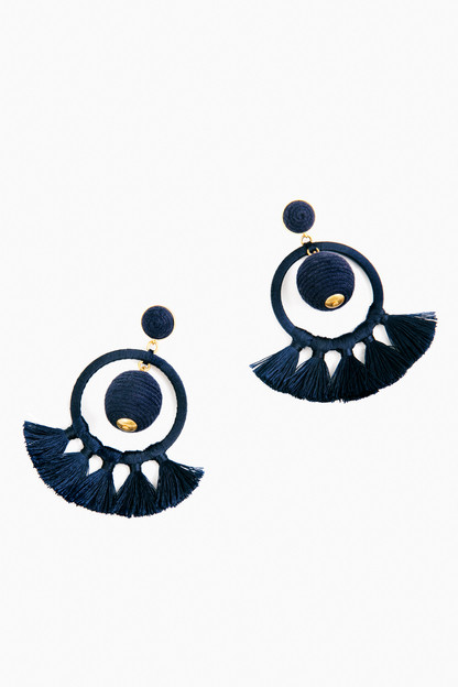 navy dreamcatcher earrings
