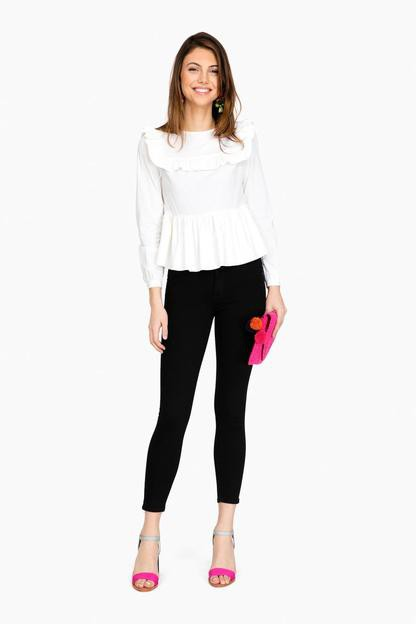 york ruffle long sleeve blouse