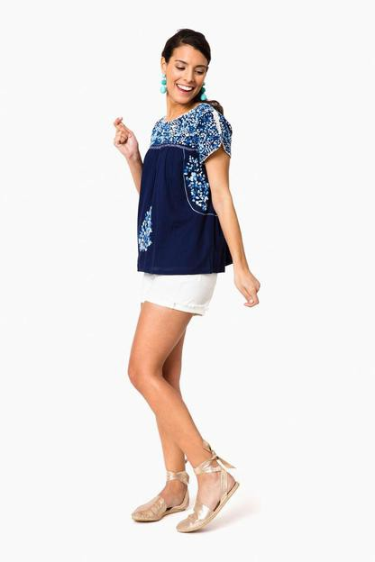 navy mamie embroidered top