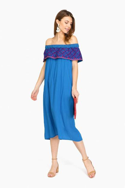 blue volante off the shoulder dress
