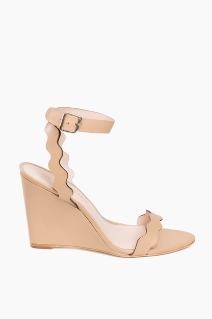 wheat piper scallop wedge sandals