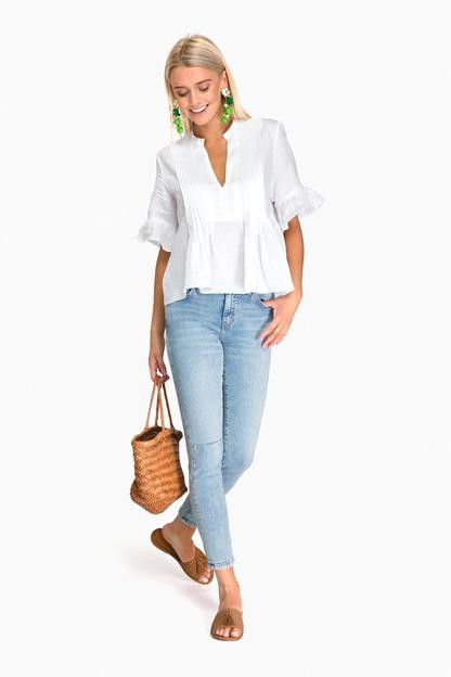 white isa linen top