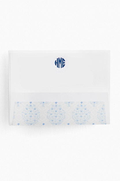 letterpress personalized stationery with blue geo liner