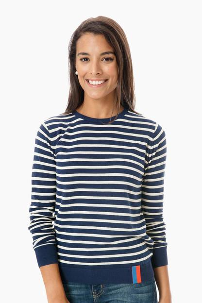 the saylor striped sweater - navy/cream