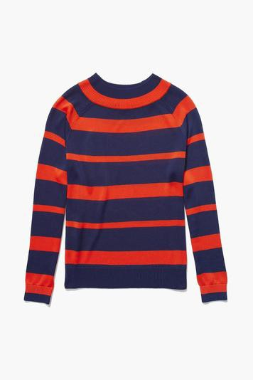 the audrey striped sweater - navy/poppy