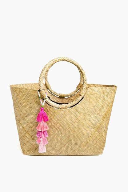natural olivia tote with pink ombre tassel