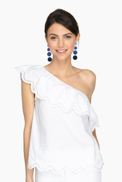white aria one shoulder top