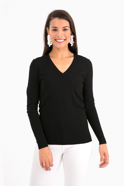 black madison v-neck sweater