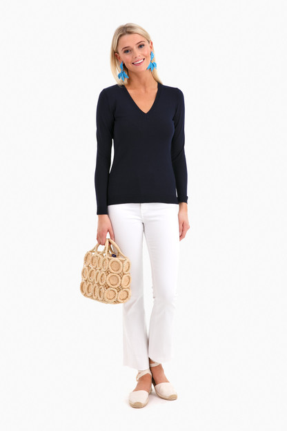 classic navy madison v-neck sweater