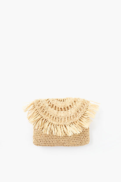Natural Mia Mini Fringe Clutch