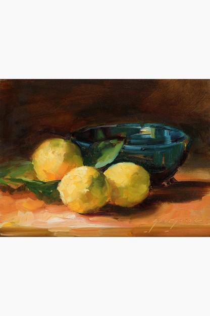 lemons & blue bowl by georgesse gomez