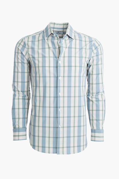 blue madras truman slim button down shirt