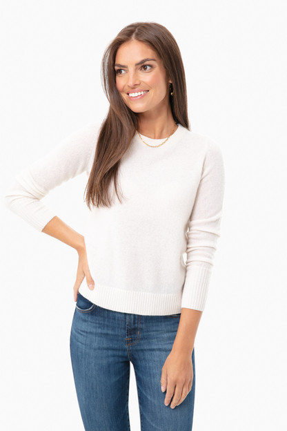 pearl white essential cashmere crewneck sweater
