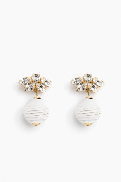 orchid white sparkle petite woven lantern earrings