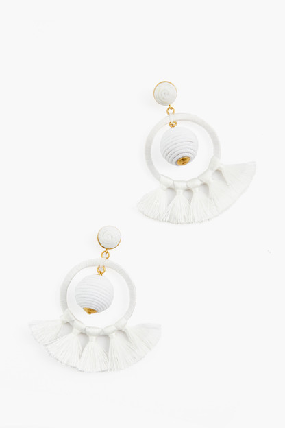 orchid white dreamcatcher earrings