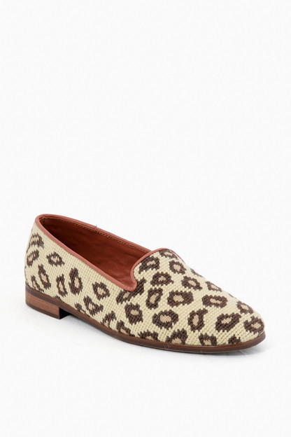 beige leopard needlepoint loafers