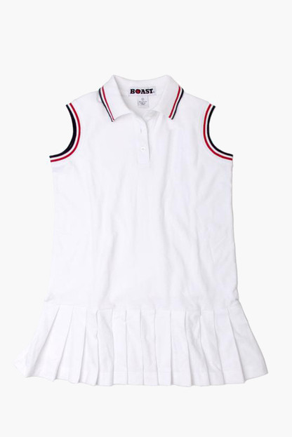 girl's red and navy tipped pique tennis dress