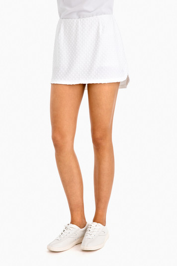 white dotted tennis skirt