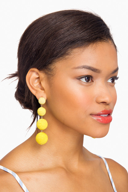 yellow ombre silk gumball drop earrings
