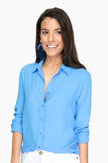 the signature silk shirt in prussian blue