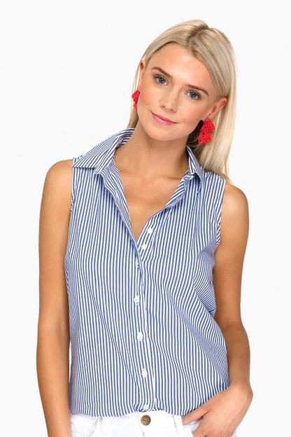 The Blue Wide Stripe Sleeveless Essential Icon Shirt Take an extra 30% off with code: HOORAY