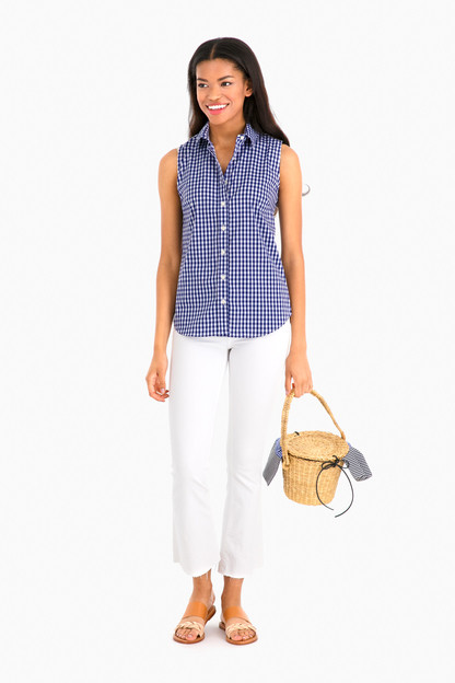 the exclusive navy check sleeveless essential icon shirt