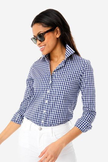 4288182e9e01a1 The Shirt by Rochelle Behrens | Navy Gingham Long Sleeve Icon Shirt ...