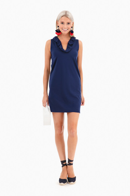 solid navy sleeveless skipper dress