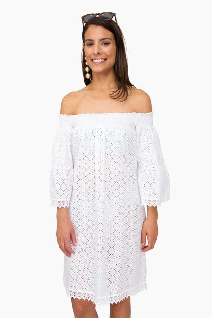 white eyelet sleeve ariel dress