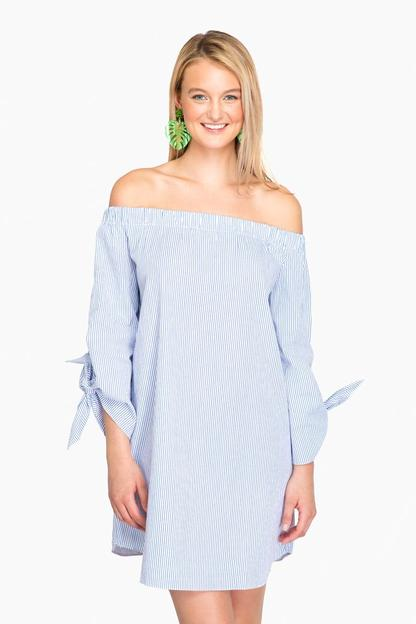 blue pin stripe cora off the shoulder dress