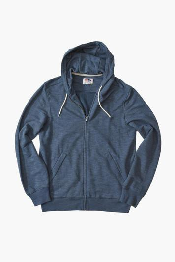 navy heather montague zip hoodie