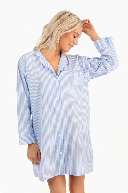 blue ice stripe night shirt with blue trim