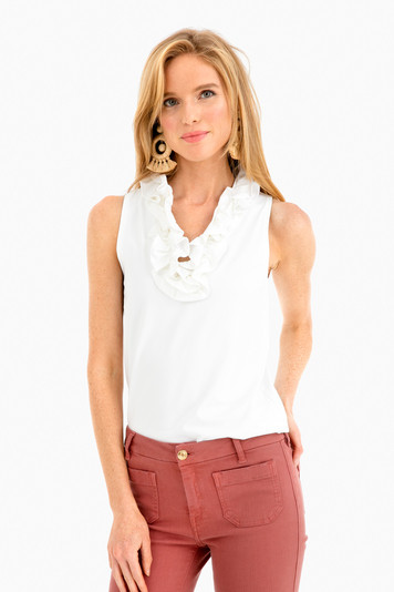 white sleeveless skipper top