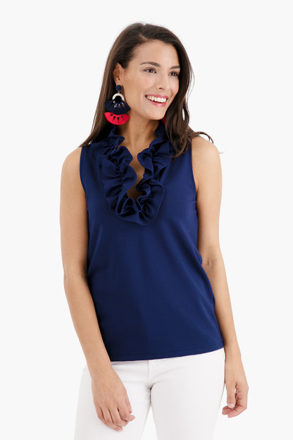 navy sleeveless skipper top