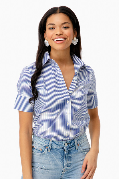 blue striped short sleeve icon shirt