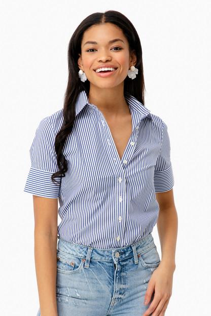Blue Striped Short Sleeve Icon Shirt