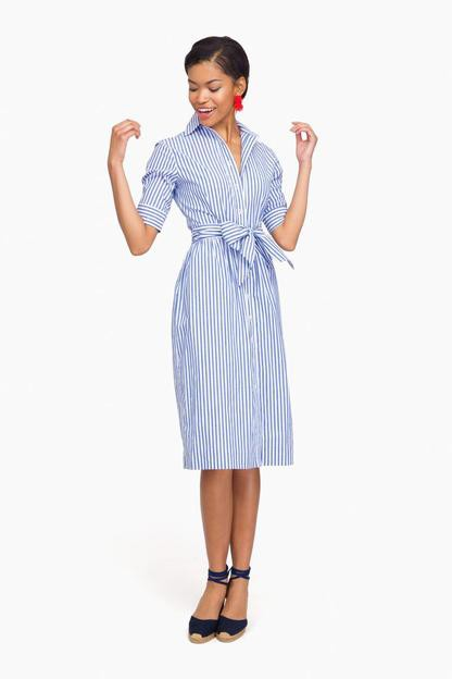 striped sabrina shirt dress